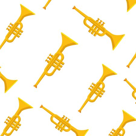 Trumpet instrument background design, Music sound melody song musical art and composition theme Vector illustration