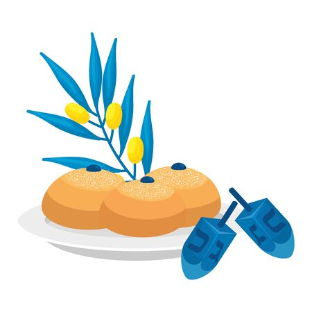 dreidel game with bread and olive branch vector illustration design Çizim