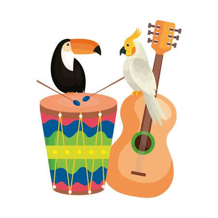 toucan with parrot and icons traditionals vector illustration design Illustration