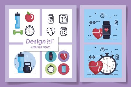 six designs of fitness and set icons vector illustration design