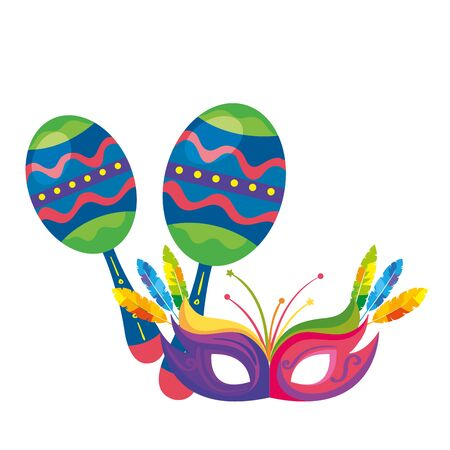 maracas with mask carnival isolated icon vector illustration design
