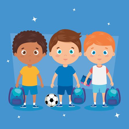 little boys with school bags and soccer ball vector illustration design 向量圖像