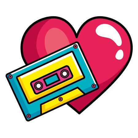 cassette music with heart pop art style icon vector illustration design Ilustrace