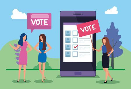 business people with vote lettering and smartphone vector illustration design Ilustração