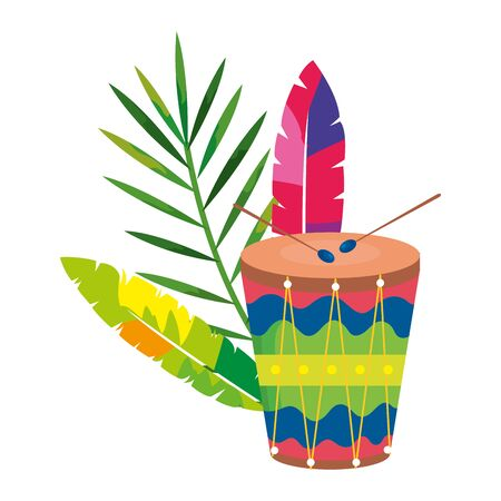 drum with exotic feathers and tropical leaf vector illustration design