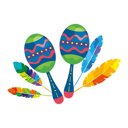 maracas with exotic feathers isolated icon vector illustration design