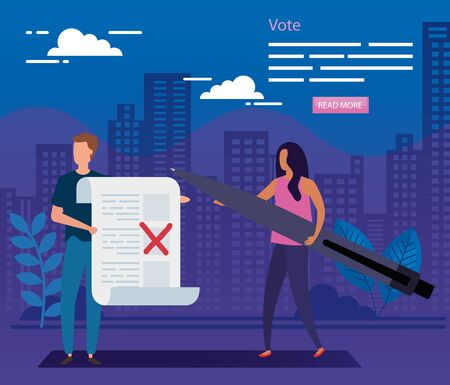 poster of vote with business couple vector illustration design