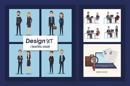 six designs of scenes resources human with icons vector illustration design Çizim