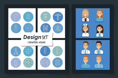 six designs of healthcare medical with doctors and icons vector illustration design