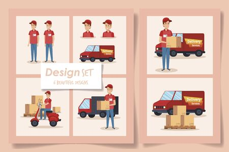 six designs of delivery service with workers and icons vector illustration design