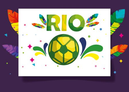poster of carnival rio with soccer ball and decoration vector illustration design