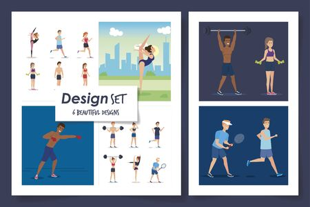 six designs of people practicing exercise vector illustration design