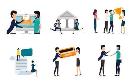 bundle of business people with set icons vector illustration design Иллюстрация