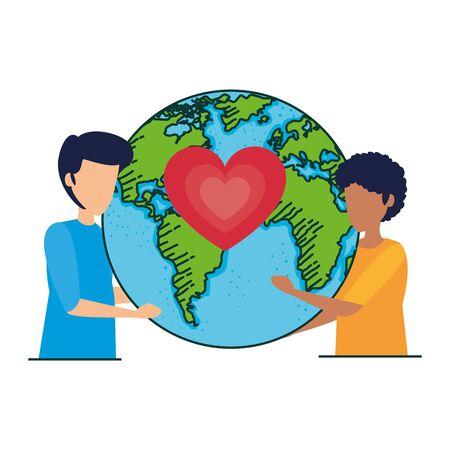 interracial men couple with earth and heart vector illustration design Illusztráció