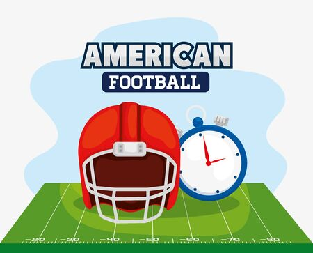 poster of american football with helmet and chronometer vector illustration design