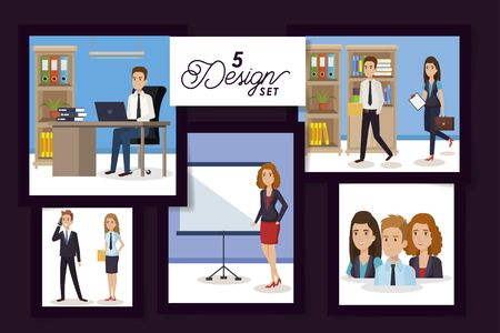 five designs of business people in the workplace vector illustration design