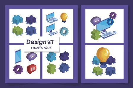 six designs of teamwork and icons vector illustration design