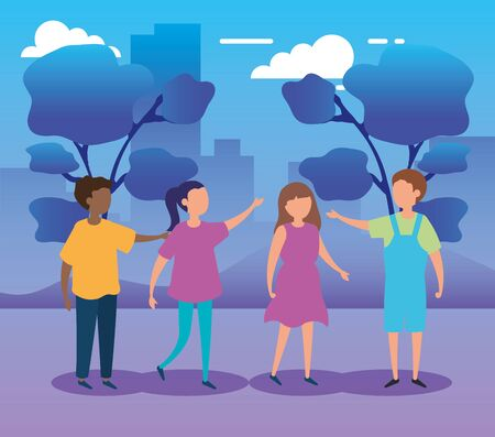 group of cute kids in park nature vector illustration design