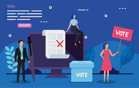 poster of vote with business people and icons vector illustration design Иллюстрация