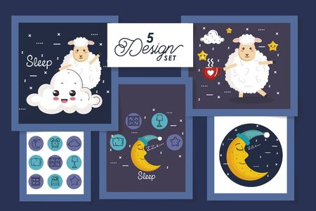 five designs for sleep scenes and cute icons vector illustration design Illustration