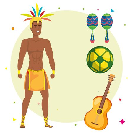 exotic dancer man with icons traditional brazil vector illustration design