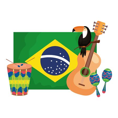 toucan and icons with flag brazil vector illustration design Ilustrace