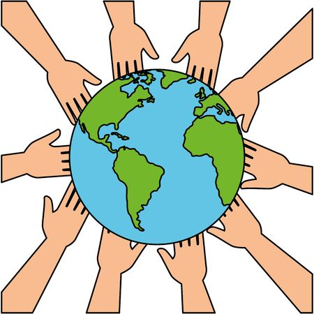 community hands with world planet earth vector illustration design