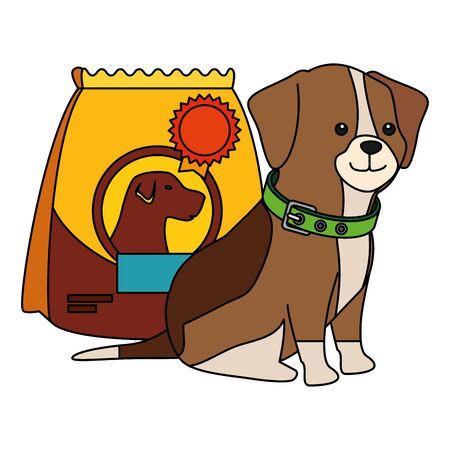 cute dog with bag food isolated icon vector illustration design