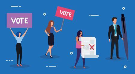 business people with icons of voting vector illustration design Ilustração