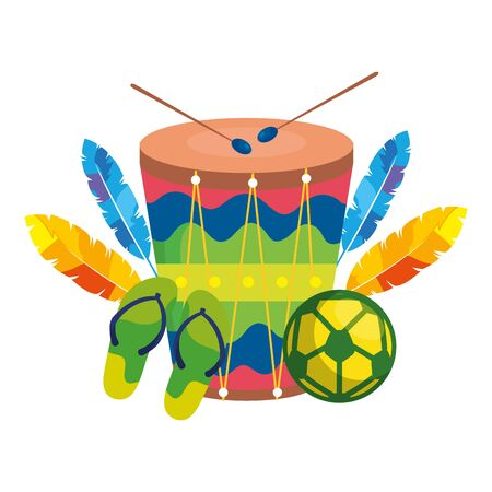 flip flops with drum and ball soccer vector illustration design