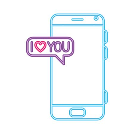 smartphone with speech bubble in neon light, valentines day vector illustration design Ilustração