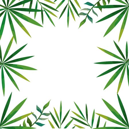 frame of tropical natural leafs isolated icon vector illustration design