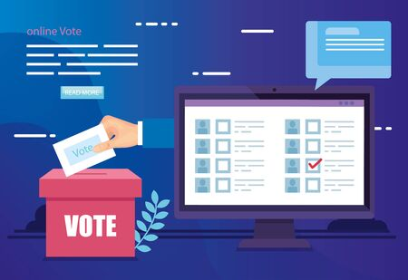 poster of online vote with computer and ballot box vector illustration design 向量圖像