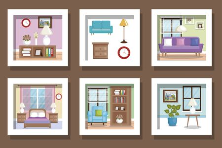bundle designs scenes interior of home and icons vector illustration design  イラスト・ベクター素材
