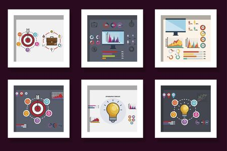 bundle of statistics infographic icons vector illustration design