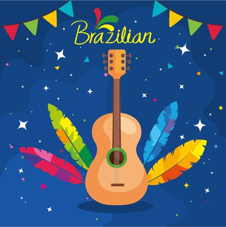 poster of brazilian carnival with guitar and decoration vector illustration design Illustration