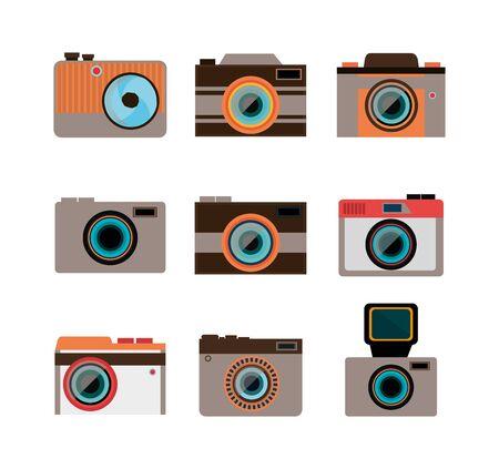 set icons of cameras photographics vector illustration design
