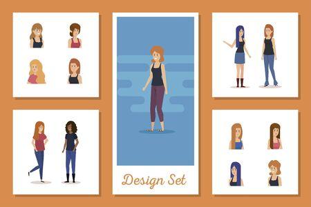 set designs of young women vector illustration design
