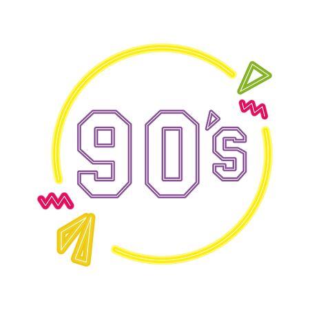 nineties sign retro style neon light vector illustration design