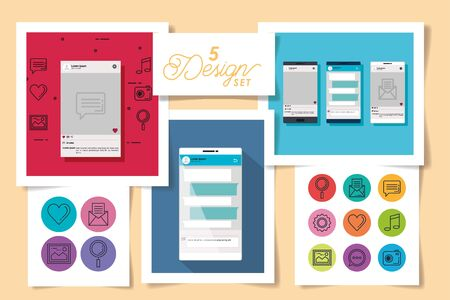 five designs of smartphones and social media icons vector illustration design Ilustrace