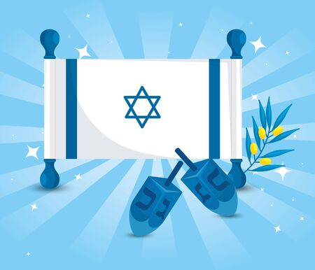 flag israel with dreidel games and olive branch vector illustration design Çizim