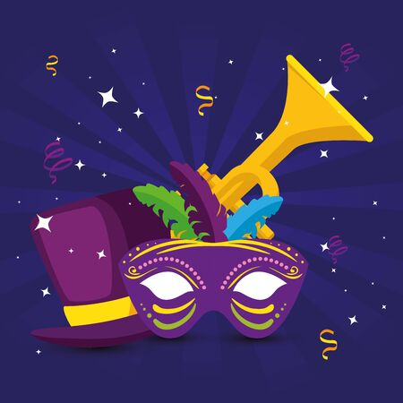 Mardi gras trumpet mask and hat design, Party carnival decoration celebration festival holiday fun new orleans and traditional theme Vector illustration Ilustrace