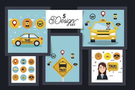 five designs of service taxi with icons vector illustration design Vectores