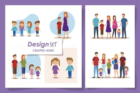 set six designs of family parents and sons vector illustration design