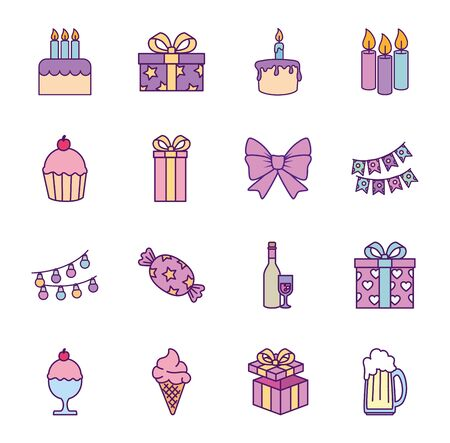 Icon set design, Happy birthday card celebration decoration surprise party anniversay and invitation theme Vector illustration