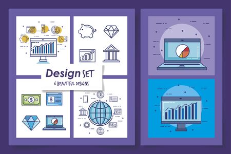 Six designs of money financial icons banking commerce market payment buy currency accounting and invest theme Vector illustration