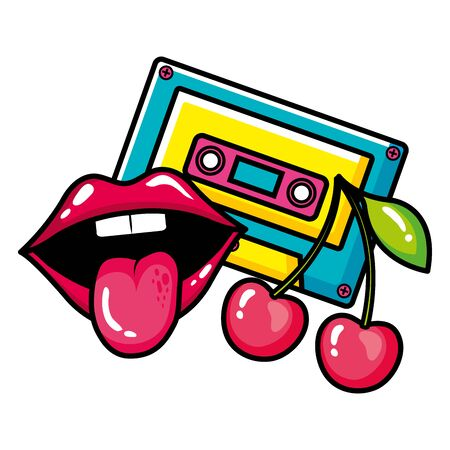 cassette music with cherries and sexy mouth pop art style icon vector illustration design Ilustrace
