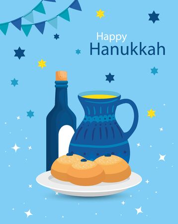 happy hanukkah with teapot and icons vector illustration design