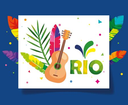 poster of carnival rio with guitar and decoration vector illustration design