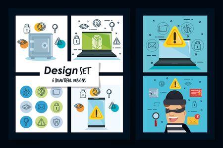 Set frames design of Security system warning protection danger web alert and safe theme Vector illustration  イラスト・ベクター素材
